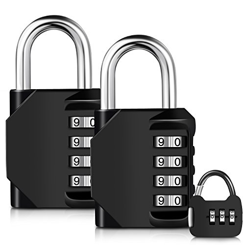 Adoric Life 3-Pack 4 Digit Weatherproof Combination Portable Padlocks, 2-Pack Lock Padlock for School, Employee, Outdoor, Gym Locker, Case, Toolbox, Fence, Cabinet with  Mini 1- Black