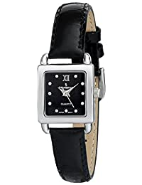 Peugeot Women's Silver Small Square Case Crystal Marker Black Genuine Leather Strap Watch 3034BK