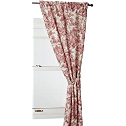 Ellis Curtain Victoria Park Toile 68-Inch-by-72 Inch Tailored Panel Pair with Tiebacks, Red