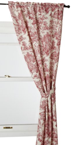 Ellis Curtain Victoria Park Toile 68-Inch-by-72 Inch Tailored Panel Pair with Tiebacks, Red ()