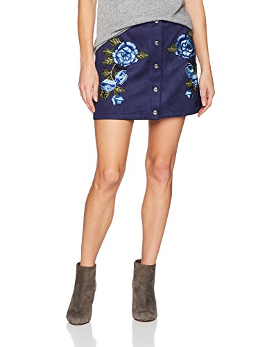 Jack by BB Dakota Women's Cailyn Scuba Faux Suede Skirt with Floral Patches, Medieval Blue, Large