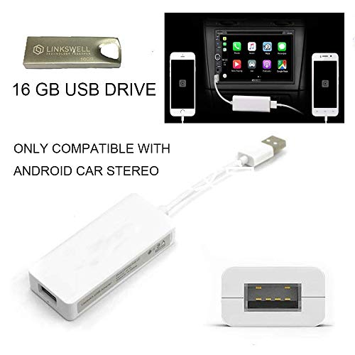 LINKSWELL Carplay Dongle USB Adapter Smartphone Link Receiver Charger for Android Radio,Navigation System Support Touch and Voice Control Fit for Android and Apple Phone Siri - Apple Adapter Wireless Usb