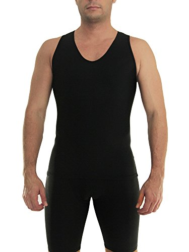 Image of Underworks Mens Extreme Gynecomastia Chest Binder V-Tank Top Medium Black