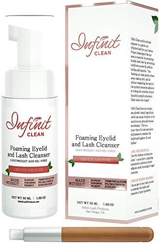 Infinit Clean Foaming Eyelid and Lash Cleanser - Lash Primer for Individual Eyelash Extension Adhesive - Removes Oil and Protein From The Natural Lash - Improves Retention of Semi Permanent Lashes