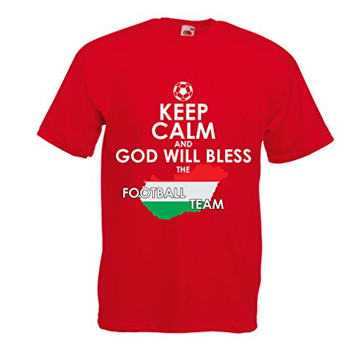 fan products of lepni.me N4487 T Shirts For Men Keep Calm and God Will Bless The Hungarian Football Team ! (Small Red Multi Color)