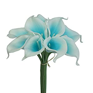 Lily Garden Artificial Picasso Calla Lily Flower Bouquets (Turquoise and White) 39