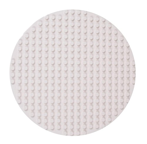 Strictly Briks Classic Big Briks Circle Baseplate 100% Compatible with All Major Brands   Large Pegs for Toddlers   12.5 Diameter Building Brick Base   White Tight Fit Stackable Base Plate