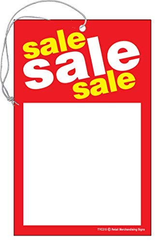 """TYC215 Sale, Sale, Sale Elastic Knotted Price Sale Tags with Strings Red and Yellow Pack of 100 (3 1/2"""" x 5 1/2"""")"""