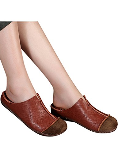 Lazy Brown Leather Women's Style 4 Shoes Zoulee Round Flats Shoes Toe PYOZB