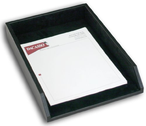 Dacasso Black Leather Letter Tray, Legal Size