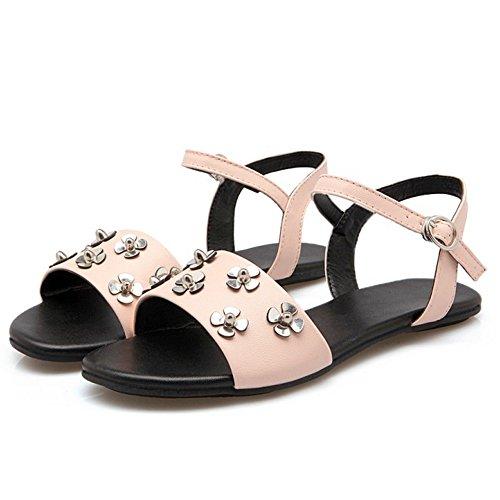 Pink Flats Open TAOFFEN Women Sandals Back Casual q406Z