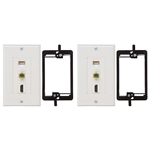 (Buyer's Point HDMI 3GHz Coax Ethernet Wall Plate with Single Gang Low Voltage Mounting Bracket Device (2, White Kit))