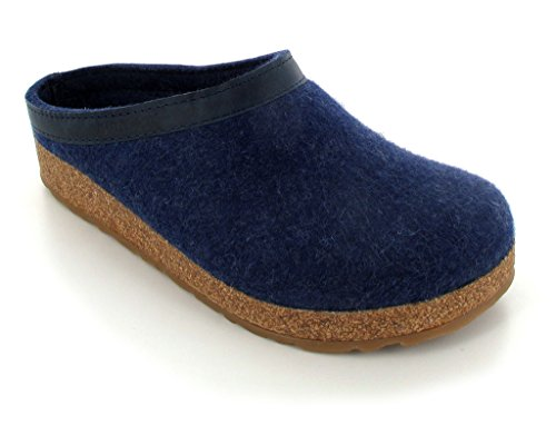 Denim Leather Clogs (Haflinger Unisex GZL Leather Trim Grizzly Clog, Denim, 40 EU)