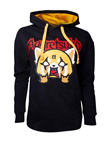 Aggretsuko Hoodie Embroidered Logo Official Mens Black Pullover Size M