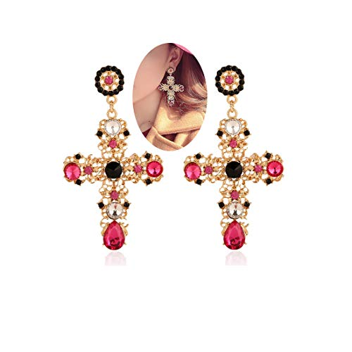 - Palace Hollow Carving Pattern Color Crystal Big Cross Baroque Dangle Earrings for Women Girls Party Gifts (Red)