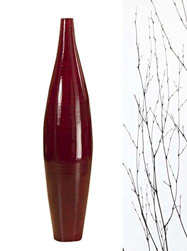GreenFloralCrafts 30 in. Ellipse Bamboo Floor Vase- Mahogany Red vase & DIY ()