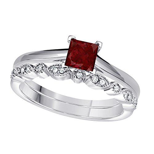 DS Jewels Bridal Set for Women 1.00 Ct Princess & Round Cut CZ Ruby & Cubic Zirconia 14k White Gold Plated .925 Sterling Silver Vintage Style Wedding Band Engagement Ring Size 5-11