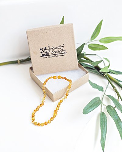 Andy Pandy Premium 100% Natural Baltic Amber Unisex Teething Necklace For Babies - Raw Unpolished (12.5