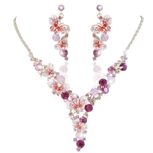 (EVER FAITH Elegant Butterfly Gold-Tone Pink Austrian Crystal Necklace Earrings Set)