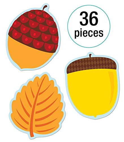 Carson Dellosa - Leaves & Acorns Colorful Cut-Outs, Fall Classroom Décor, 36 Pieces, Assorted Designs