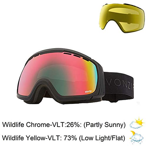 Vonzipper Feenom NLS Adult Snowmobile Goggles - Black Satin/Wildlife Chrome/One Size