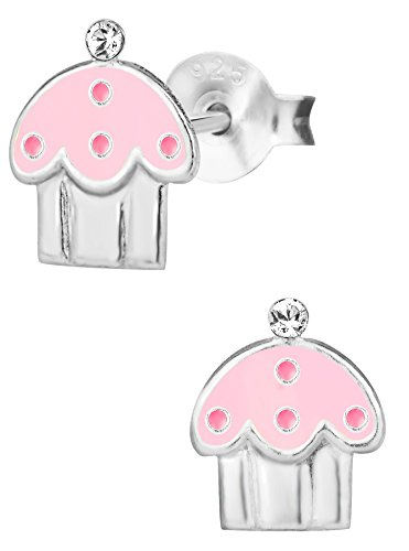 Hypoallergenic Sterling Silver Pink Cupcake Stud Earrings for Kids (Nickel Free)