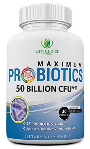 Maximum Probiotic Pills with Prebiotics - 50 Billion 15 Strains - Weight Loss & Digestive Health Support - High Potency - Suitable for Men & Women - with 30 Patented Delayed Release Capsules