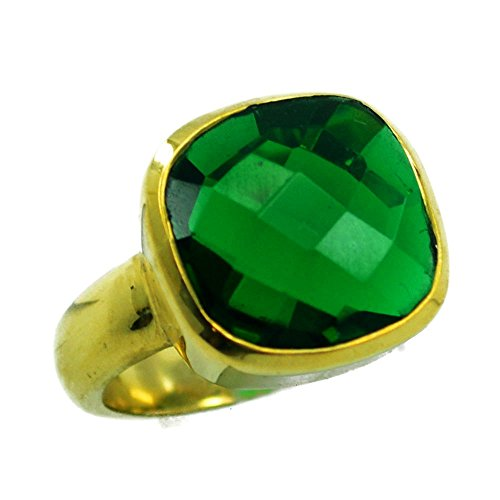 Emerald CZ Gold Plated Ring For Women May Birthstone Cushion Shape Checker Cut Size 5,6,7,8,9,10,11,12