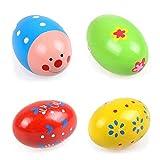 OPOCC Set of 4 Wooden Percussion Musical Egg Maracas Egg Shakers (Random Pattern)