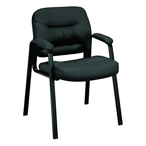 - HON Charge Guest Chair - Leather Stacking Chair with Arms, Black (HVL643)
