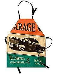 Lunarable Vintage Apron, Garage Retro Poster with Classic Car Automobile Mechanic Nostalgic 50s, Unisex Kitchen Bib Apron with Adjustable Neck for Cooking Baking Gardening, Orange Beige Jade Green
