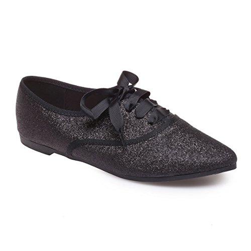 Modeuse Negro De Mujer Para Cordones La Zapatos F1qdwBB