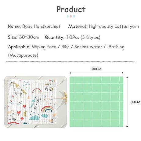 Caiery10pz Mussole Neonato/Asciugamani da bagno per bambini 30cm*30cm, extra morbidi, in mussola di cotone organico… Accessori 10pz 7