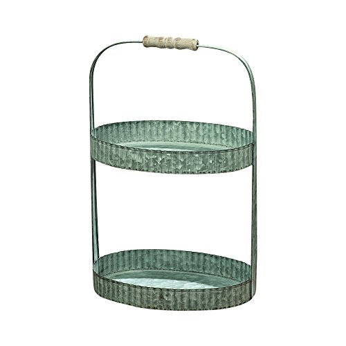 (Whole House Worlds The Farmer's Market Pastry Crust Edge Oval Etager, Double Tier, Fluted, Galvanized Metal, Lathe Turned Wooden Handle, Decorative Cake Stand, 15 1/4 Inches Tall, By)