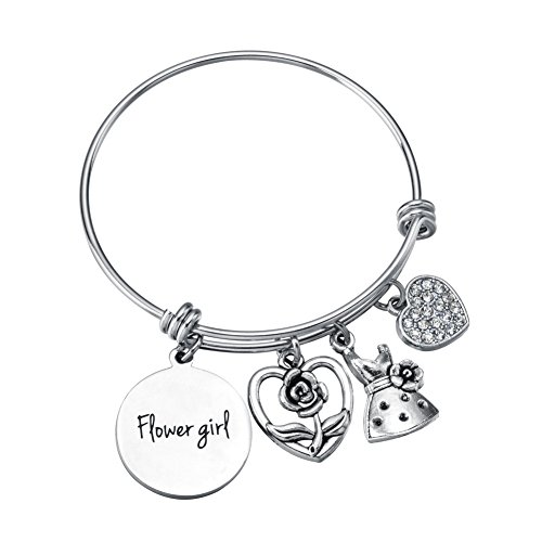 Miss Pink Flower Girl Gifts from Bride and Groom Adjustable Bangle Wedding Charm Bracelet