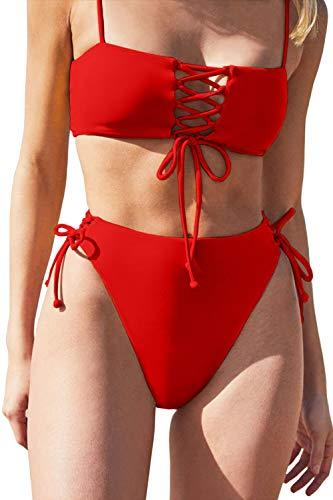 QINSEN Bikini Set for Women Spaghetti Strap Lace Up Front Top High Waist Self Tie Bottom 2 Pieces Swimsuit Red S