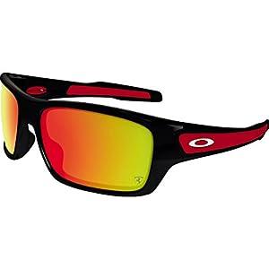 Oakley Men's Turbine Non-Polarized Iridium Rectangular Sunglasses, Polished Black, 63.05 mm