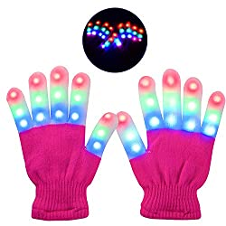 Light Up Pink Gloves With 3 Colors 6 Modes Flashing