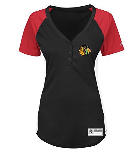 Chicago Blackhawks Snap - VF LSG NHL Chicago Blackhawks Go with The Feeling Short Sleeve Raglan Snap Placket Tee, Medium, Black Athletic Red White Black