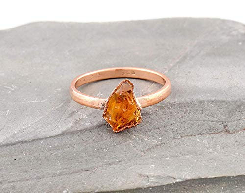 Size 7 Rose Gold Plated Silver Electroformed Raw Citrine Handmade Ring Women Jewelry Gift For Mom Her Birthday Anniversary November Birthstone