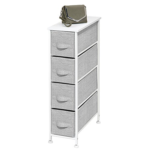 cal Dresser Storage Tower - Sturdy Steel Frame, Wood Top, Easy Pull Fabric Bins - Organizer Unit for Bedroom, Hallway, Entryway, Closets - Textured Print - 4 Drawers, Gray/White ()