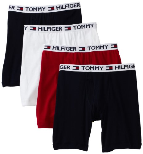 Tommy Hilfiger Men's 4 Pack Boxer Brief, Red/Navy/White, Large