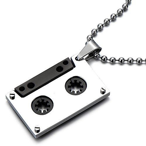 (COOLSTEELANDBEYOND Unisex Cassette Pendant Necklace for Men for Women Stainless Steel with 30 Inches Ball Chain)