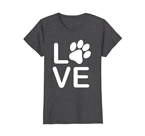 I Love My Dog Tshirt - Womens Girls Guys Paw Print t-shirts. Medium Dark Heather