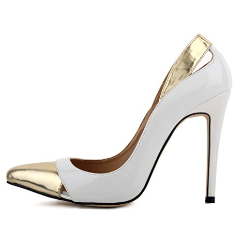 ZriEy Women Pumps Pointed Toe Stiletto Shoes 11cm White