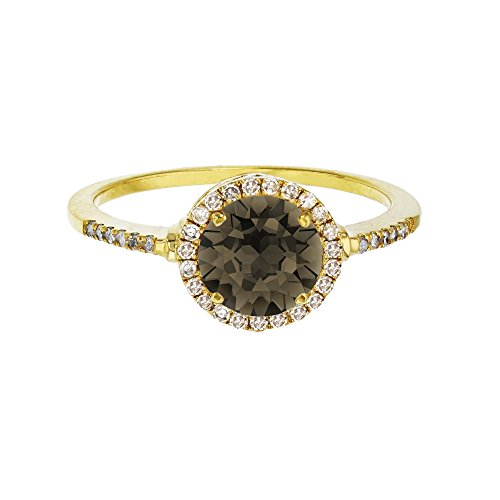 (Sterling Silver Yellow 7mm Round Smokey Quartz & Created White Sapphire Halo Ring)