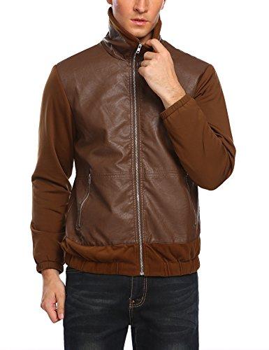 COOFANDY Men's Leather Vest Motorcycle Zipper Biker Racing Waistcoat (Medium, Brown2)