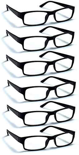 6 Pack Reading Glasses by BOOST EYEWEAR, Traditional Black Frames, with Spring Loaded Hinges