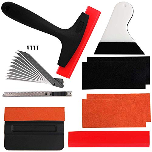 VZCY Vinyl Wrap Window Tint Tools, 10 Pcs Vehicle Vinyl Wrap Film Tool Kit, Window Film Kit for Car Wrapping, Vinyl Install Set Including Felt Squeegee, Knife Film Cutter with Blade Replacements