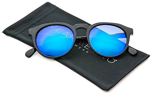 WearMe Pro - Retro Unisex Round Mirrored Fashion - Mirrored Sunglasses Blue